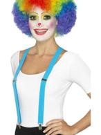 Blue Clown Braces, Funnyside Fancy Dress. One Size