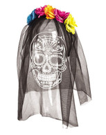 Day of the Dead Headband with Printed Veil 7 Colourful Roses