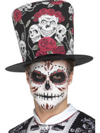 Day of the Dead Skull & Rose Top Hat,Mexican/Sugar Skulls,One Size
