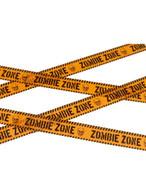 Orange & Black Zombie Zone Caution Tape, Halloween Fancy Dress Accessories