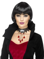Black Deluxe Gothic Vamp Choker, Halloween Fancy Dress Accessories