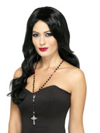 Gothic Vampire Rosary Bead Necklace, Halloween Fancy Dress Accessories