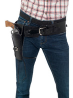 Adult Faux Leather Single Holster with Belt, Black, Cowboys and Indians Fancy Dress