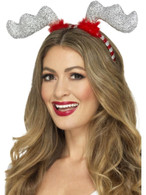 Glitter Reindeer Antlers, Christmas Fancy Dress Accessories, One Size