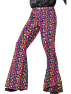 60s Psychedelic CND Flared Trousers,Mens,1960's Groovy Fancy Dress, Medium