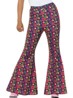 60s Psychedelic CND Flared Trousers,Ladies,1960's Fancy Dress,UK 12-14