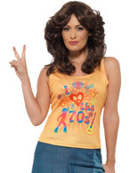 I Love the 70s Top, Ladies, 1970's Disco Fancy Dress, UK Size 12-14
