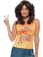 I Love the 70s Top, Ladies, 1970's Disco Fancy Dress, UK Size 16-18