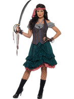 Deluxe Pirate Wench Costume, Pirate Fancy Dress, UK Size 8-10