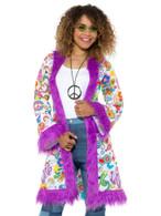 60s Groovy Hippie Coat, 1960's Groovy Fancy Dress, UK Size 16-22