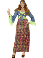 Curves Hippie Lady Costume, Large, 1960s 70s Fancy Dress, Womens, UK 16-18