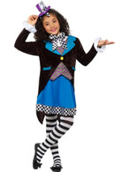 Little Miss Mad Hatter Costume, with Dress,Girls Fancy Dress,Medium Age 7-9