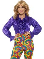 Satin Ruffle Shirt, Purple, Ladies, 1970's Disco Fancy Dress, UK Size 16-18