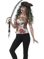 Zombie Pirate Wench T-Shirt, Small,Halloween Fancy Dress, Womens, UK 8-10
