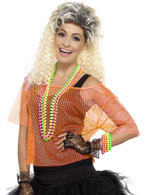 Neon Orange Fishnet Top, 1980's Fancy Dress. UK Size 8-14