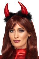 Metallic Devil Horn Headband Red & Black with Feathers,Halloween Fancy Dress