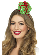Festive Present Headband Green, Christmas Fancy Dress Accessories, One Size