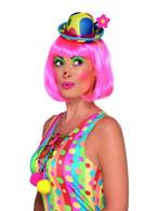 Clown Mini Hat Headband Multi-Coloured Adult, Fancy Dress