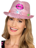 Light Up Sequin Hen Party Trilby Hat Pink, Hen & Stag Night, One Size