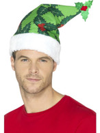 Holly Berry Santa Hat Green, Christmas Fancy Dress Accessories, One Size