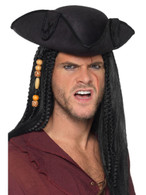 Tricorn Pirate Captain Hat Black with PU Trim, Pirate Fancy Dress, One Size