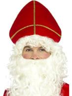 Saint Nicholas Hat Red, Christmas Fancy Dress Accessories, One Size