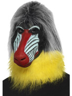 Baboon Mask Grey Latex Full Overhead, Party Animals Fancy Dress, One Size