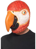 Parrot Latex Mask Red Overhead, Party Animals Fancy Dress, One Size