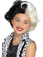 Evil Madame Wig Black & White Kids, Girls Fancy Dress, One Size