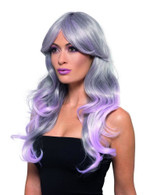 Fashion Ombre Wig Wavy Long Grey & Pastel Pink Heat Resistant/Styleable,