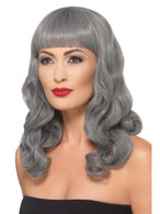 Deluxe Wig Wavy With Fringe Grey Heat Resistant/Styleable,