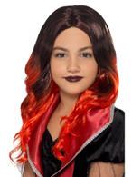 Kids Witch Wig Black & Red, Halloween Child Fancy Dress, One Size