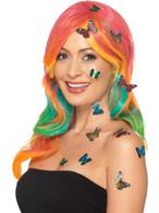 Butterfly 3D Sticker Set Multi-Coloured x12 Stickers, Facepaint/Makeup