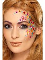 Rainbow Jewel Face Gems Multi-Coloured Sheet of 100, Facepaint/Makeup
