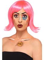 Pop Art Make Up Kit, 5 Colours Crayon Stencil Sticker Brush Sponge