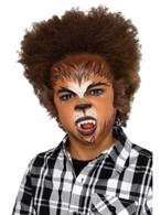 Kids Halloween Werewolf Facepaint Kit, with Fangs/Fur/Stickers/Sponge/Brush