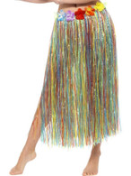 Hawaiian Hula Skirt with Flowers, Light Up and Party, MULTI