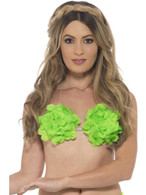 Hawaiian Flowered Bra, Light Up and Party, NEON GREEN