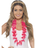 Hawaiian Lei, Adult Fancy Dress Costumes, NEON PINK