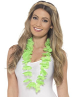 Hawaiian Lei, Adult Fancy Dress Costumes, NEON GREEN