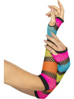 Neon Fishnet Gloves, Long, 1980's Fancy Dress. Neon