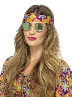 Green & Blue Hippie Specs, Mirrored, 1960's Groovy Fancy Dress