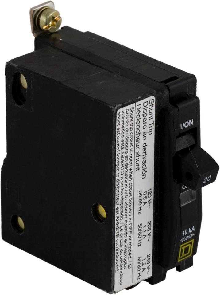 QOB1201021 Square D Single Pole 20 Amp Circuit Breaker with Shunt Trip