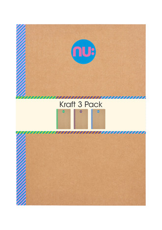 Nu: Kraft Striped A4 notebooks - Pack of 3