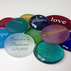 An assortment of our Engraved Sea Glass and Printed Glass products.