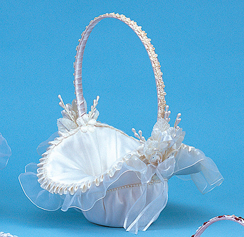 wedding flower girl basket 10 quot x 12 quot ivory satin flower basket with pearl cb 9499