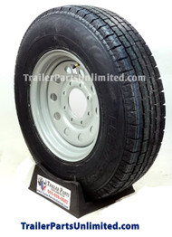 "16"" 10 ply Trailer tire mounted on 16"" silver modular wheel 8 lug on 6.5"" bolt pattern. Trailer Parts Unlimited"