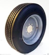 """17.5"""" 215/75R17.5 16-ply Heavy duty tire mounted on 17.5"""" super single wheel 8 on 6.5"""""""