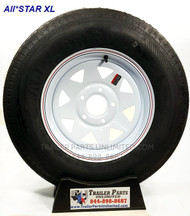 "14"" 6ply Trailer Tire Wheel combo. ST205/75D14 6-ply Bias Trailer Tire mounted on 14"" White spoke wheel 5x4.5"