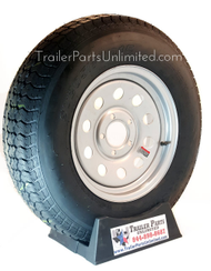 "15"" 6-ply Trailer Tire mounted on 15"" Silver Mod 5-lug wheel"